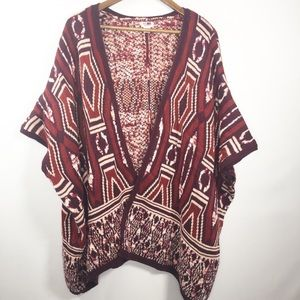 Mossimo Size S/M South Western Cardigan Burgundy